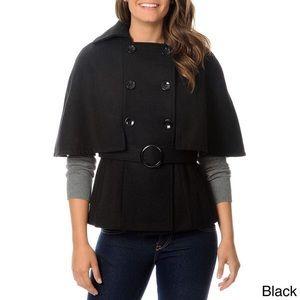🕵️♂️ Gray Wool Blend Belted Cape Coat sz. S